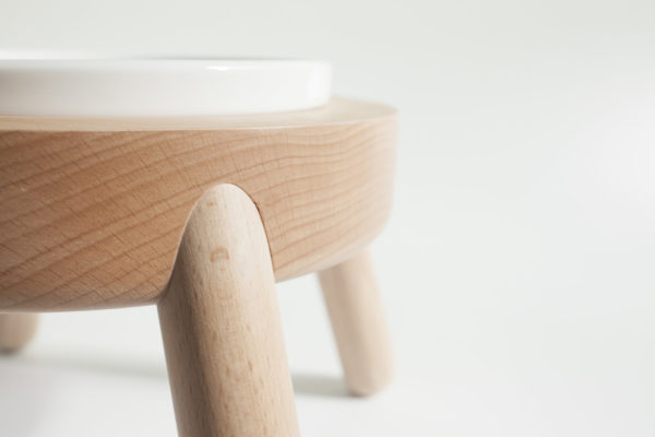 nature wood pet bowl stand with beautiful wood texture.